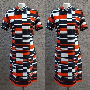 70's Mod Red Black & White Checkerboard Dress